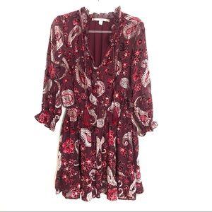 Chelsea & Violet Dresses - Chelsea and Violet Burgundy Paisley Dress L